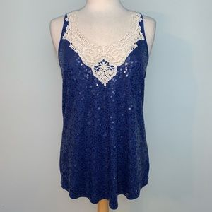 Express sequin and crochet front navy tank
